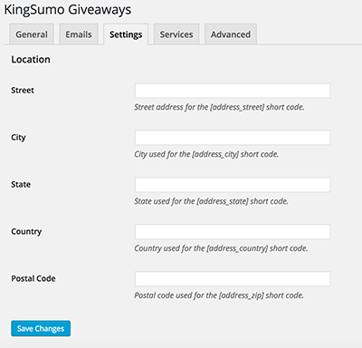 kingsumo-setup-settings-page